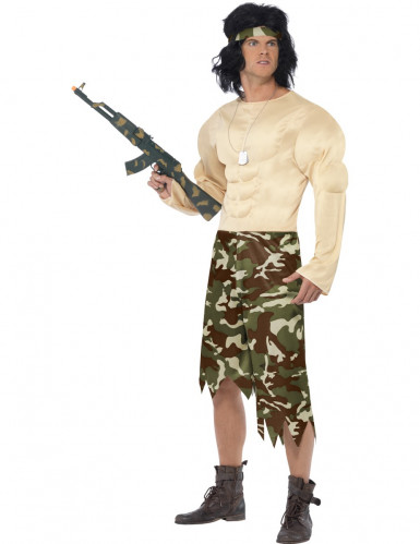 Disfraz de supersoldado muscoloso para hombre