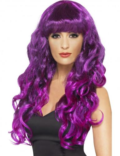 Peluca violeta de sirena para mujer
