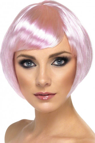 Peluca corta con glamour, color rosa, para mujer