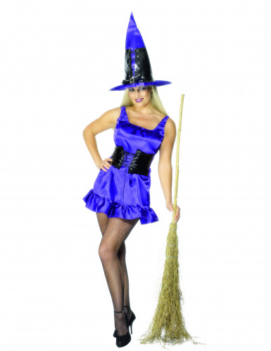 Disfraz de bruja violeta sexy ideal para Halloween