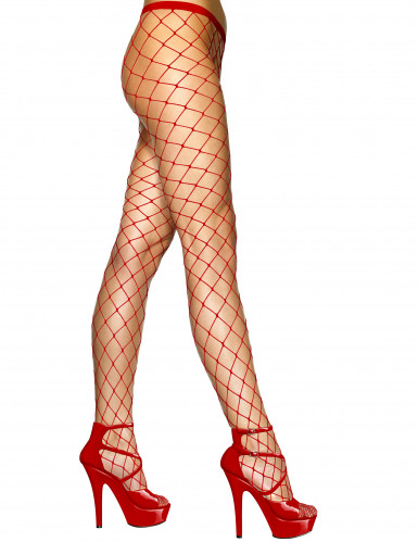 Medias de rejilla roja mujer