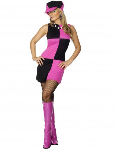 Disfraz disco para mujer rosa y negro