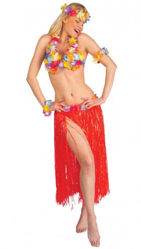Set hawaiano rojo para mujer