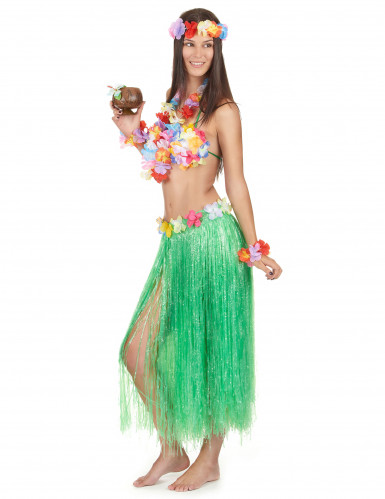 Set hawaiano verde para mujer-1