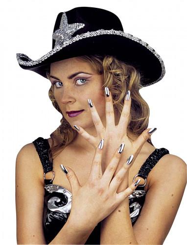 Kit de 15 uñas postizas plateadas para mujer
