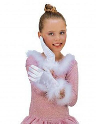 Guantes blancos de princesa para niña