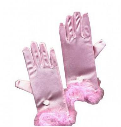Guantes rosas de princesa para niña