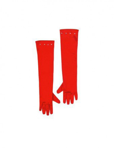 Guantes rojos largos para niña