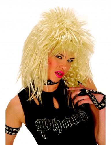 Peluca rubia estilo rock para mujer