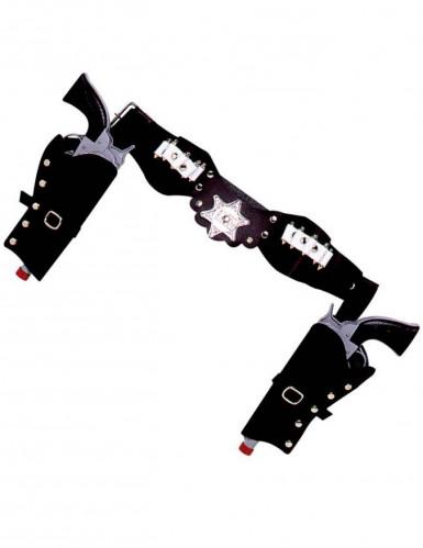 Funda de revólver de vaquero color negro.
