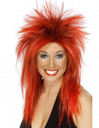 Peluca rock roja mujer