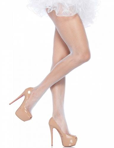 Pantys de rejilla color blanco pastel para mujer