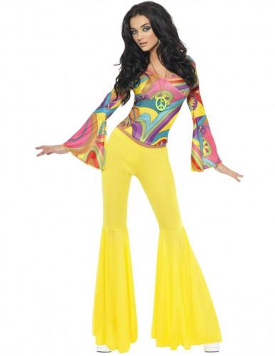 Disfraz hippie de los años 70 para mujer