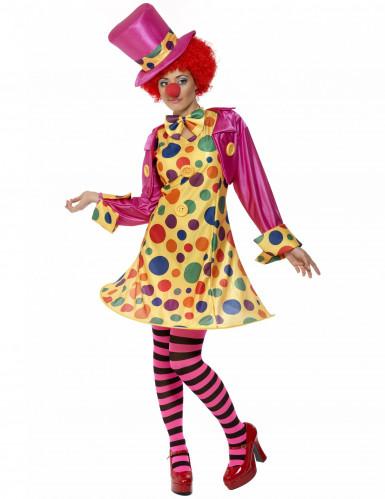 Disfraz de payaso para mujer rosa y amarillo