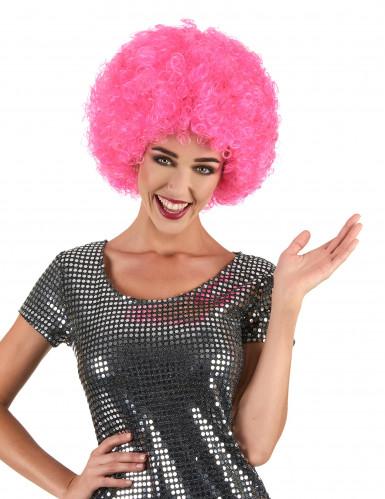 Peluca afro disco rosa