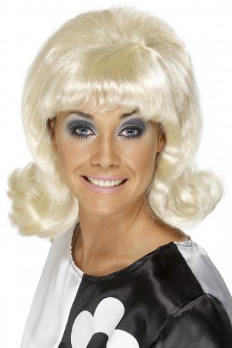 Peluca rubia de los años 60 para mujer