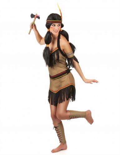 Disfraz de india marón y negro para mujer-1