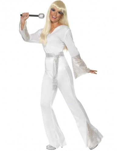 Disfraz disco para mujer blanco y gris