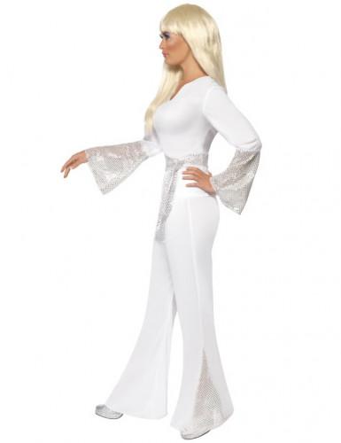 Disfraz disco para mujer blanco y gris-1