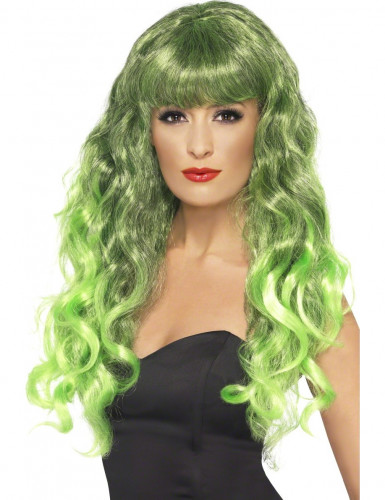 Peluca sirena rizada verde mujer