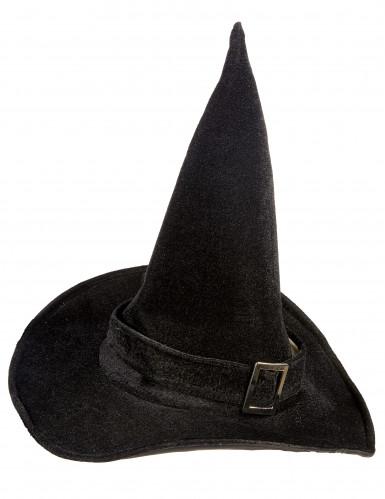 Sombrero de bruja de terciopelo para mujer ideal para Halloween-1