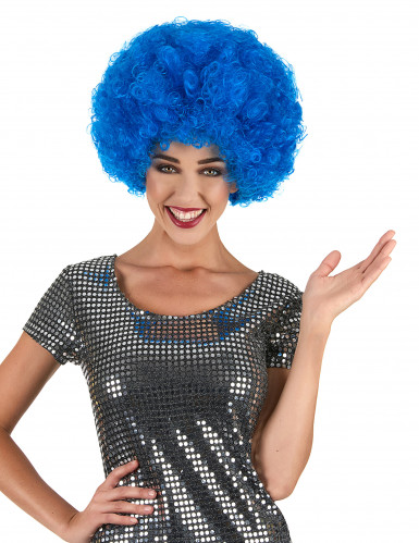 Peluca afro disco azul adulto