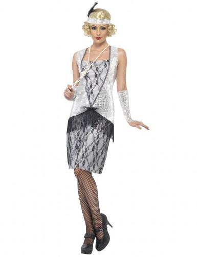 Disfraz plateado de charlestón para mujer