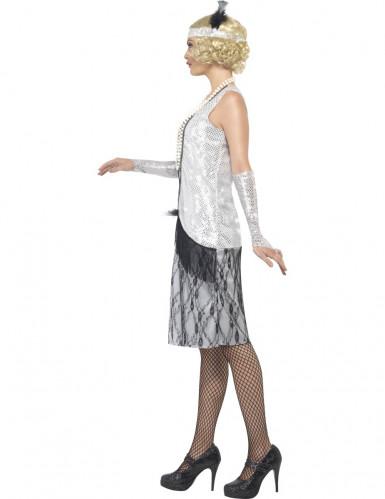 Disfraz plateado de charlestón para mujer-1