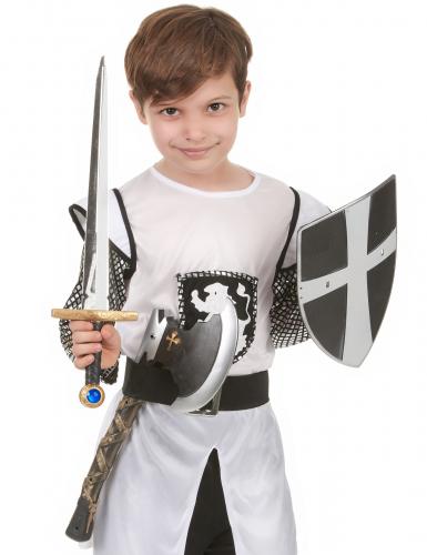 Escudo espada y hacha de caballero medieval-1