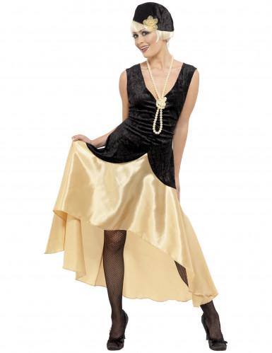 Disfraz de charlestón color negro y dorado para mujer