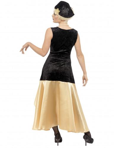 Disfraz de charlestón color negro y dorado para mujer-2