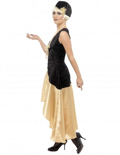 Disfraz de charlestón color negro y dorado para mujer-1