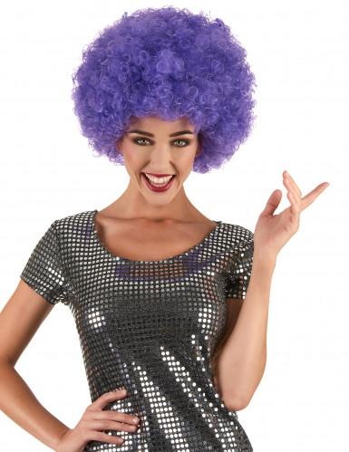 Peluca violeta afro disco para adulto
