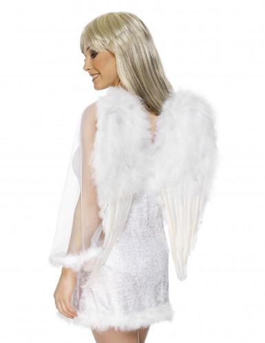 Alas blancas con plumas para adulto