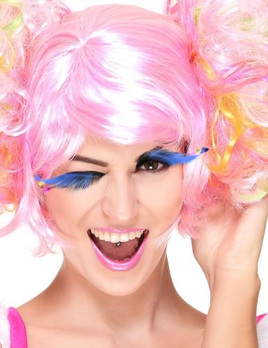 Pestañas postizas azules con plumas