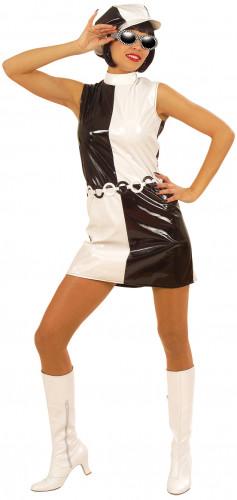 Disfraz blanco y negro de los años 60 para mujer