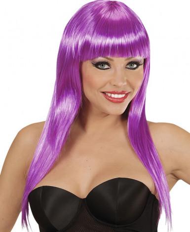 Peluca violeta con glamour para mujer