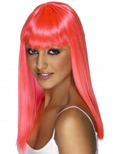 Peluca rosa con glamour para mujer