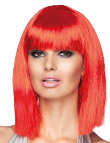 Peluca para mujer color rojo en forma de media melena cuadrada