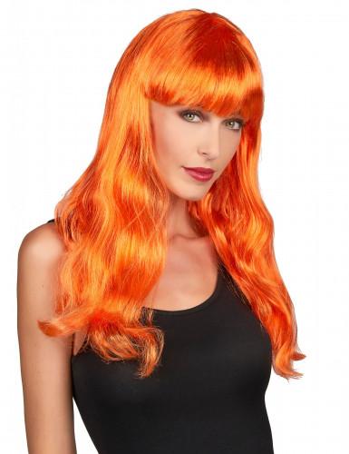 Peluca larga naranja para mujer