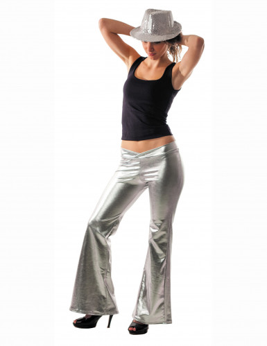 Pantalón plateado estilo disco para mujer