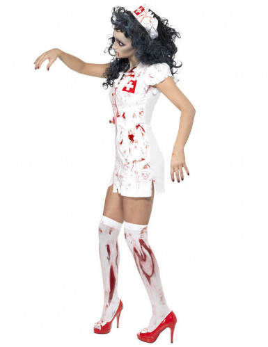 Disfraz de enfermera zombie para mujer, ideal para Halloween-1