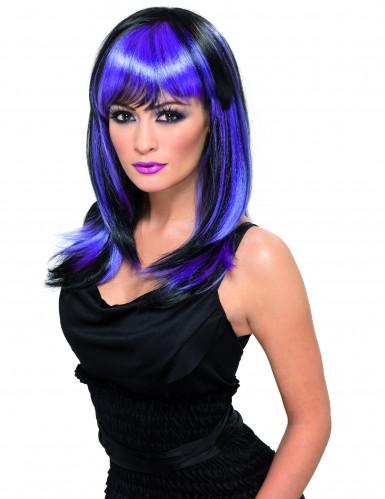 Peluca larga negra con mechas violetas para adulto