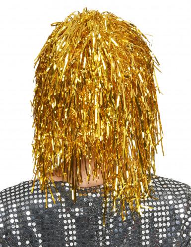 Peluca metálica dorada para mujer-1