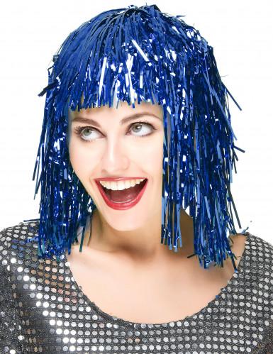 Peluca metálica azul para mujer