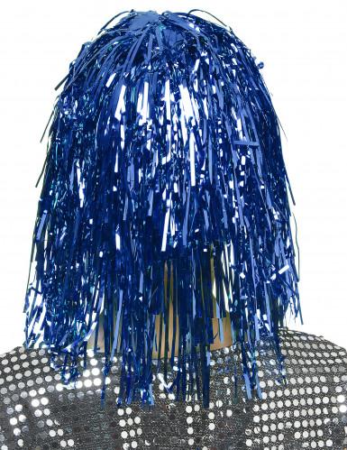 Peluca metálica azul para mujer-1