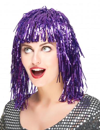 Peluca metálica violeta para mujer