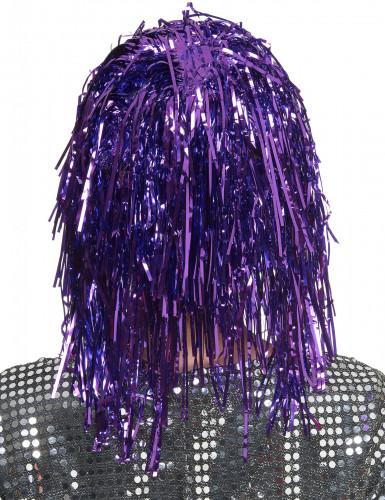 Peluca metálica violeta para mujer-1