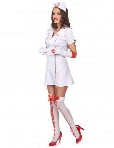 Disfraz de enfermera sexy rojo y blanco para mujer-1