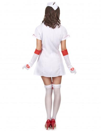 Disfraz de enfermera sexy rojo y blanco para mujer-2